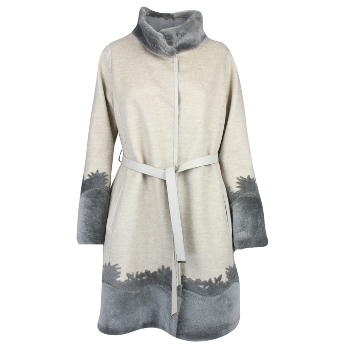 CAPPOTTO CON INSERTI IN SHEARLING REVERSIBILE Madreperla Marester