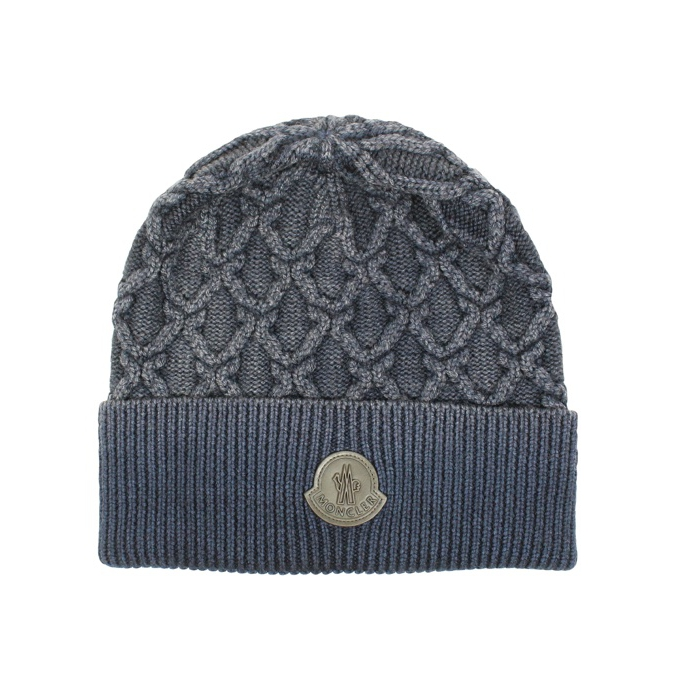 BRAIDED WOOL CAP Navy Moncler