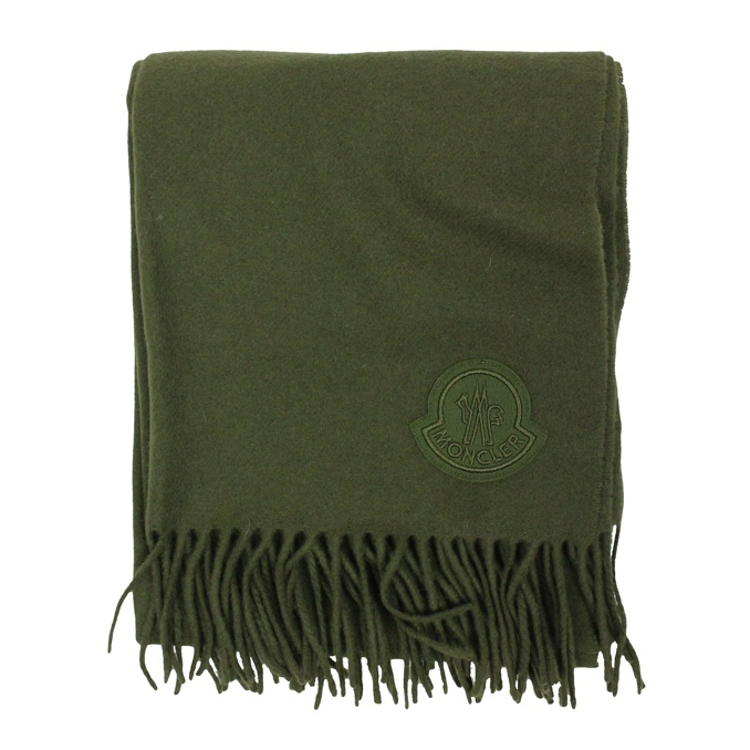 Wool scarf with fringes Military Moncler