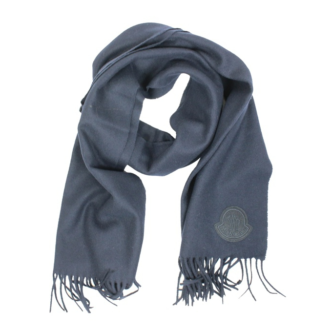 Wool scarf with fringes Navy Moncler