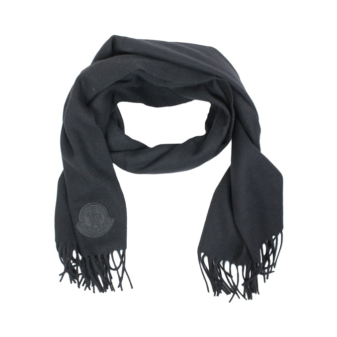 Wool scarf with fringes Black Moncler
