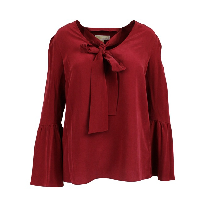 2db872e58bb8c1 Silk blouse with foulard collar Bordeaux, Michael Kors mf84lll96k ...