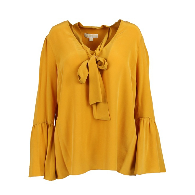baac0b4b33dee5 Silk blouse with foulard collar Ocher, Michael Kors mf84lll96k ...