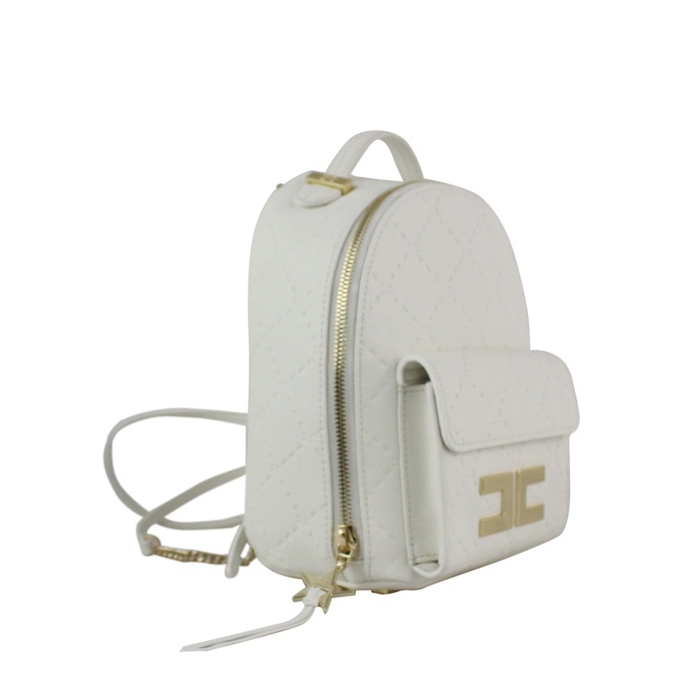 Backpack with logo White Elisabetta Franchi