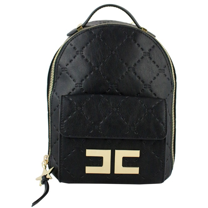 Backpack with logo Black Elisabetta Franchi