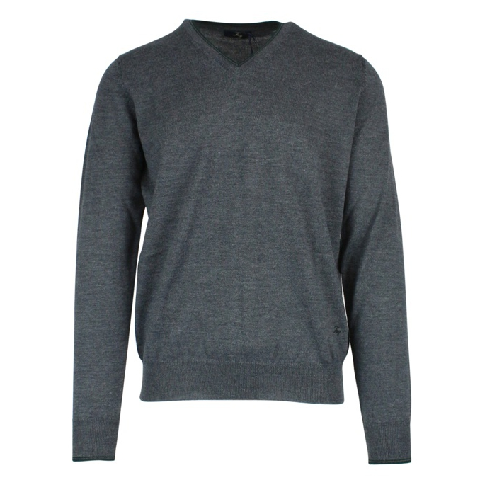 V-neck sweater with patches Anthracite Fay