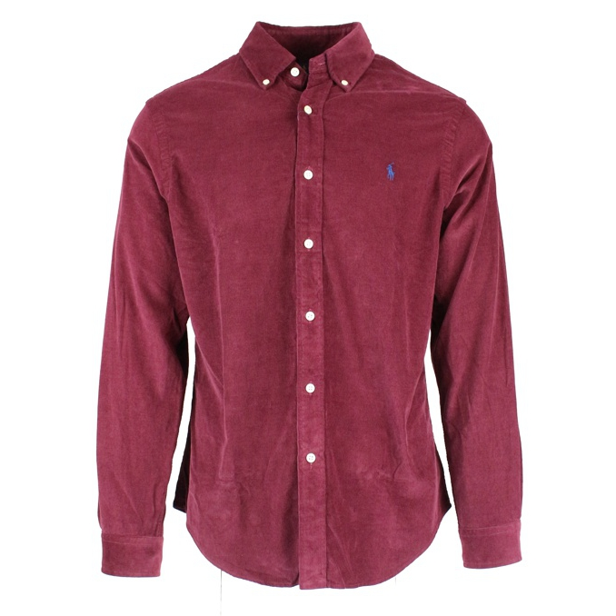 Camicia slim-fit in velluto 100 R Burgundy Polo Ralph Lauren