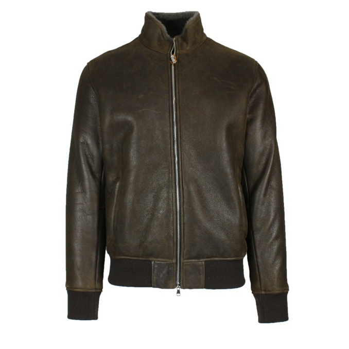 Short leather jacket Brown Barba Napoli