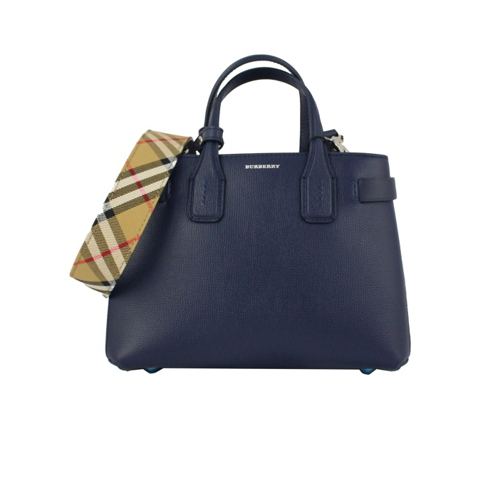 SMALL BANNER BAG IN LEATHER Blue Burberry e55e92d3ab82e