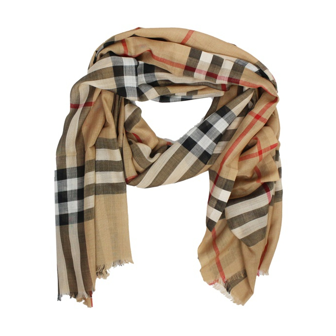 0ff824e9d61d CHECK SCARF WITH FRINGES Camel, Burberry 3743232