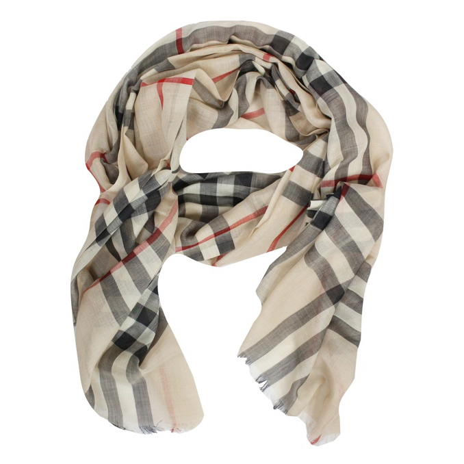 CHECK FANTASY SCARF Beige Burberry
