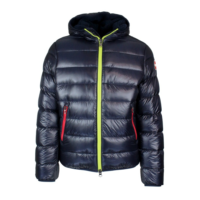 Down jacket with hood and contrast zip Blue Colmar