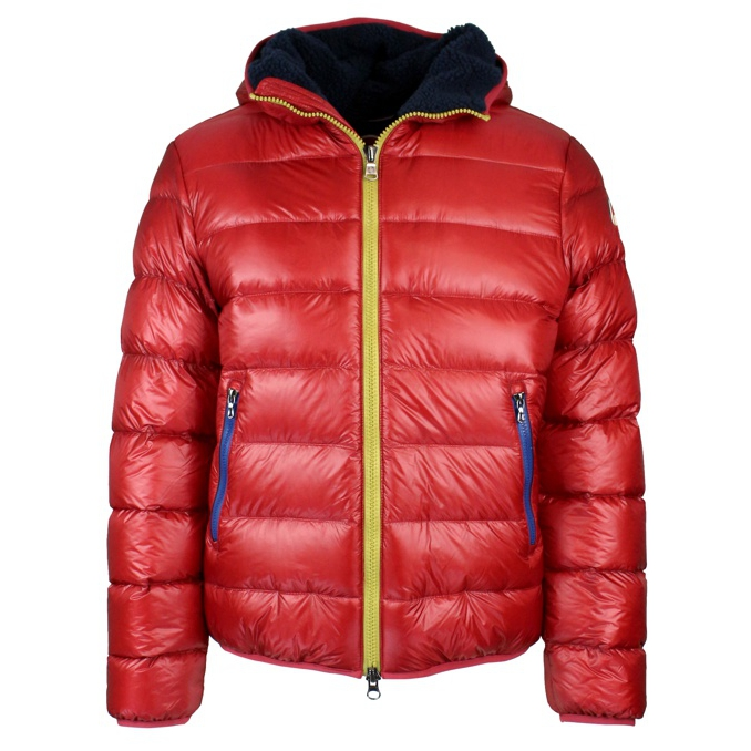 Down jacket with hood and contrast zip Red Colmar