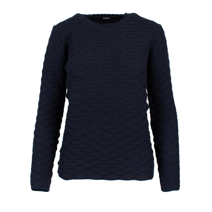 Round neck sweater in lace stitch Night blue ALPHA STUDIO