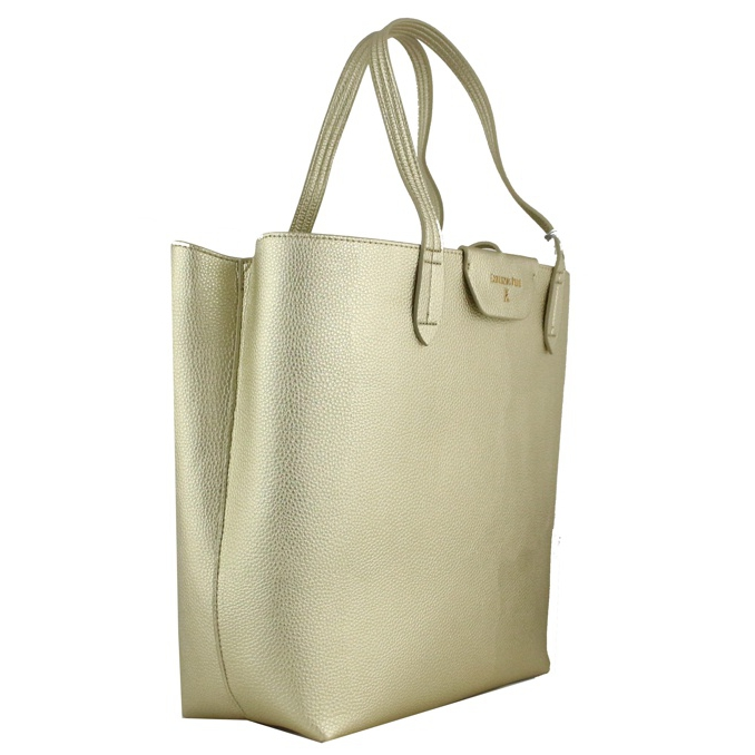 Reversible vertical shopping bag Gold / pearl Patrizia Pepe