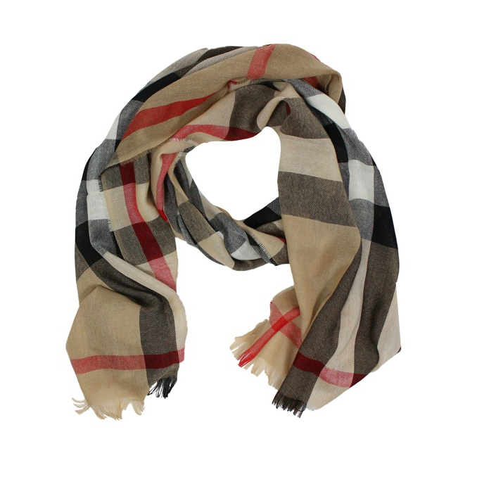 LIGHT SCARF WITH CHECK MOTIF Camel Burberry