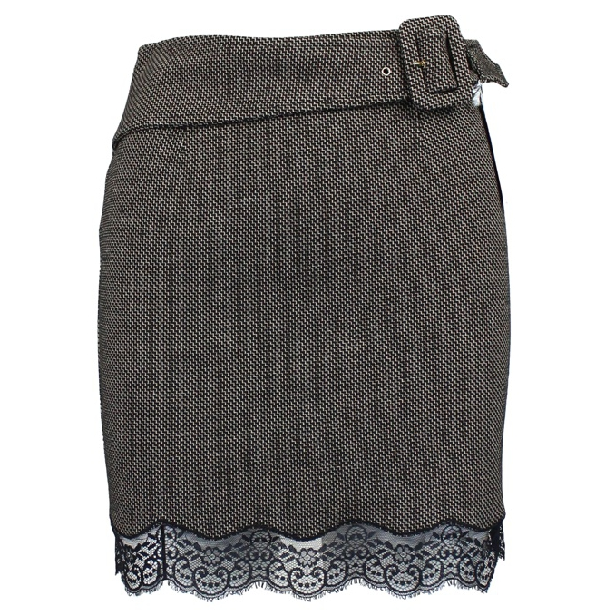 Skirt with belt and lace Black / beige Patrizia Pepe