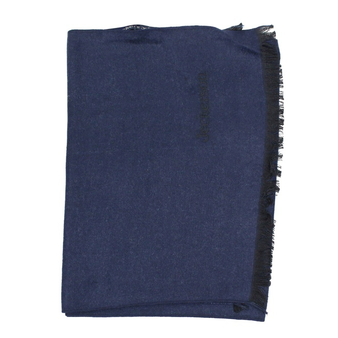 Two-tone scarf with frayed edges Navy Jeckerson