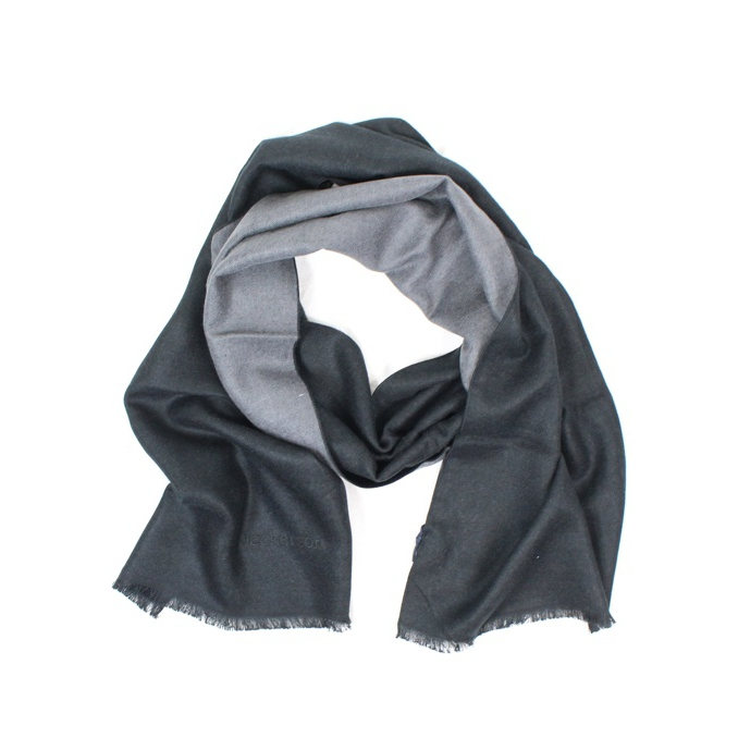 Two-tone scarf with frayed edges Black Jeckerson