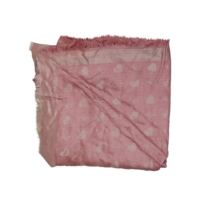 Sciarpa in viscosa jacquard cuori Rosa Twin-Set