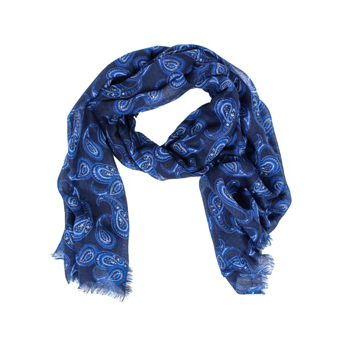 Patterned scarf with frayed edges Navy SCHONBBERG