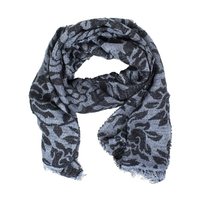Scarf with floral print Black / azole SCHONBBERG