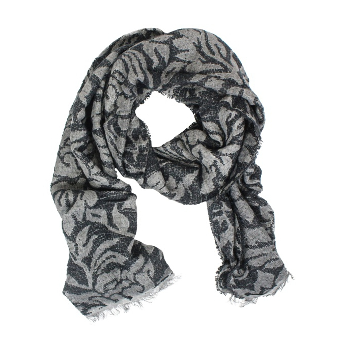 Scarf with floral print Black / graphite SCHONBBERG