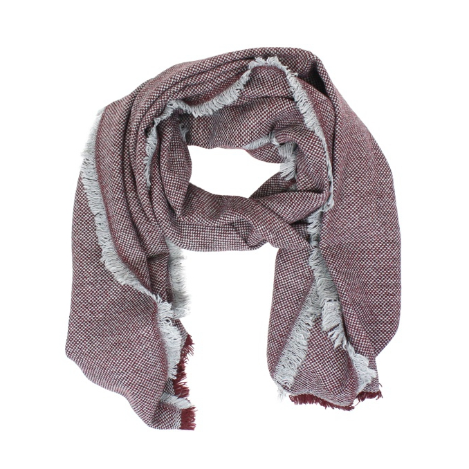 Micro patterned scarf Bordeaux / white SCHONBBERG