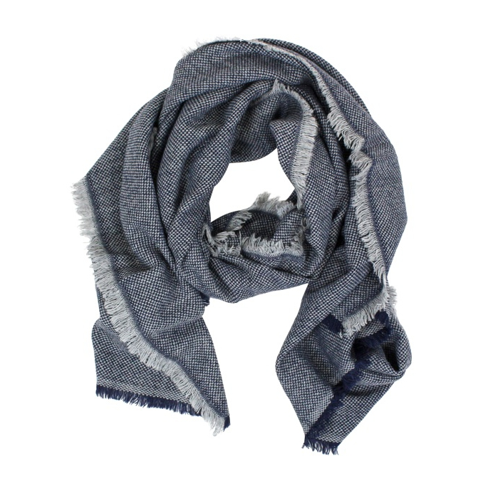 Micro patterned scarf Navy / white SCHONBBERG