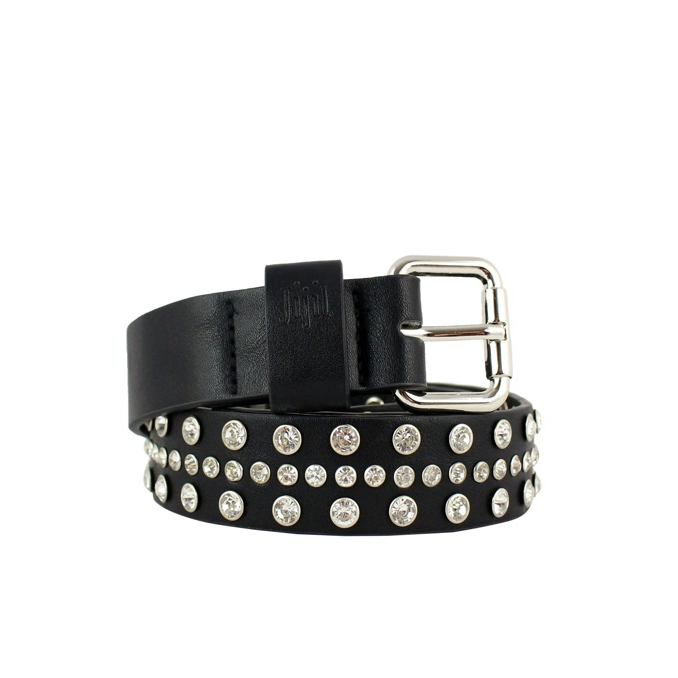 Belt with jeweled castles Black / silver JIJIL