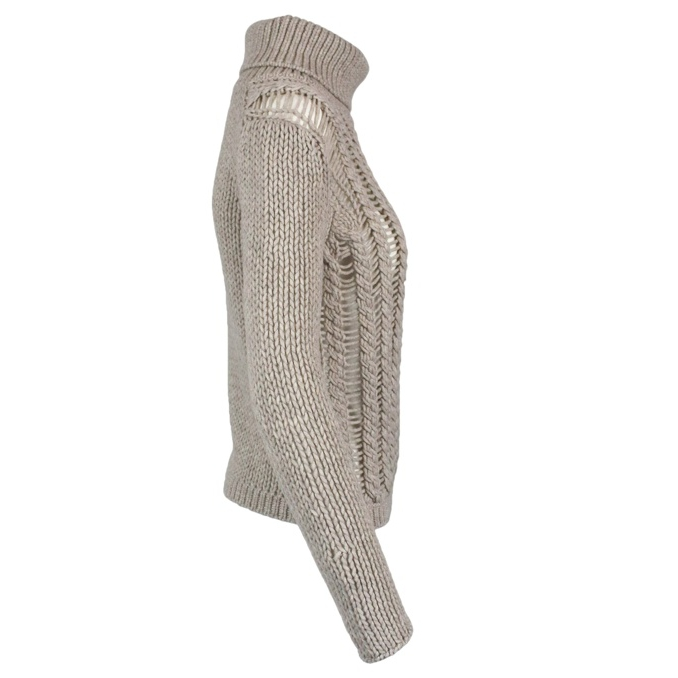 Perforated pullover with high collar Light dove GRAN SASSO