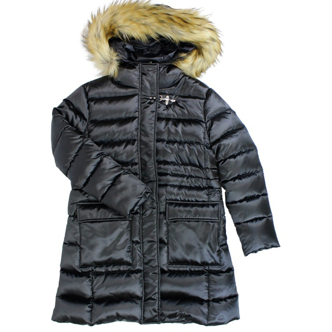 Long quilted down jacket with hood Black Fay