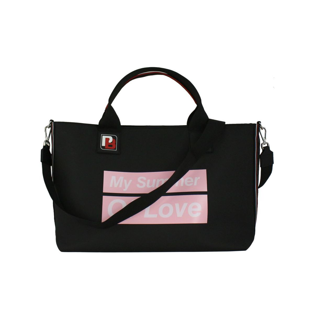 Shopping bag Variety with rubber effect Black / pink Pinko