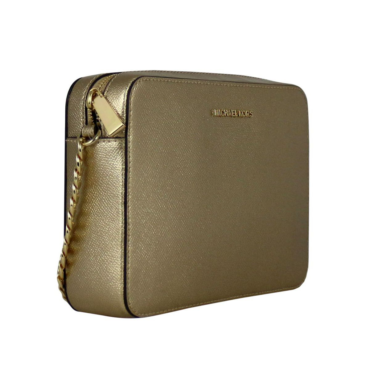 f1b56e260b0640 ... Shoulder bag in laminated leather with logo Gold Michael Kors