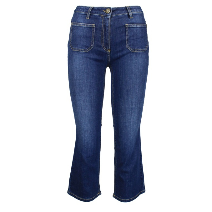 Cropped jeans with maxi pockets Blue denim Elisabetta Franchi