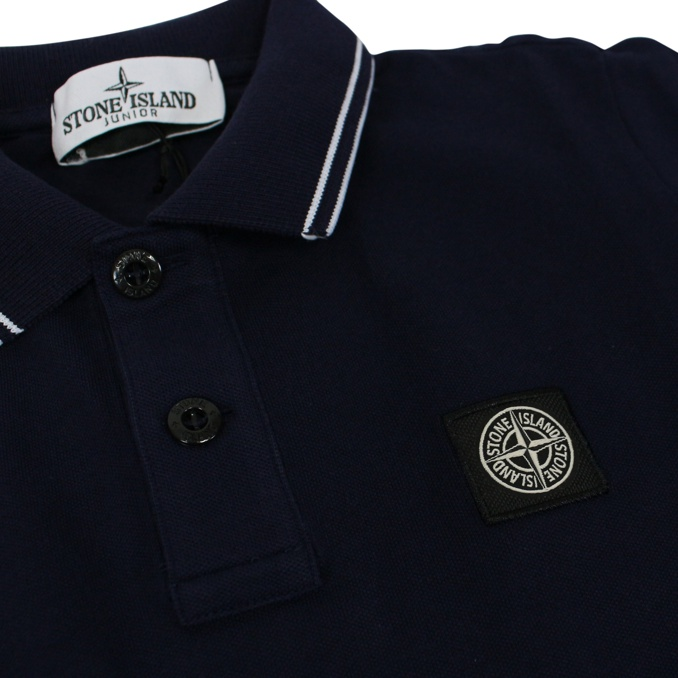 Cotton polo shirt with buttons Ink Stone Island