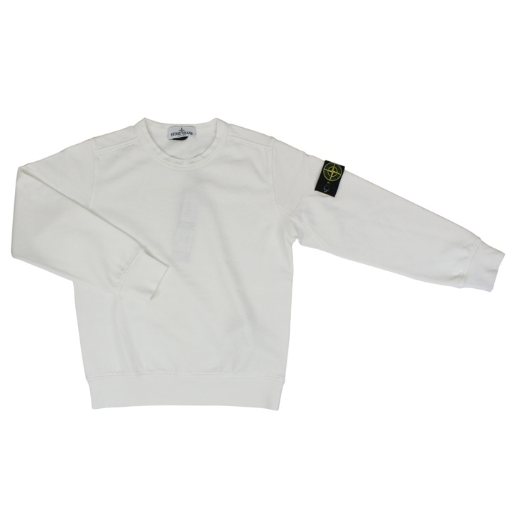 Crew-neck sweater in cotton with logo White Stone Island