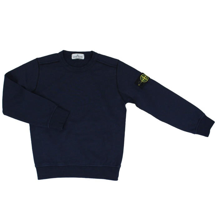 Crew-neck sweater in cotton with logo Ink Stone Island