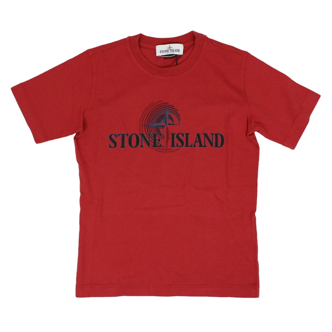 Cotton t-shirt with logo print Red Stone Island