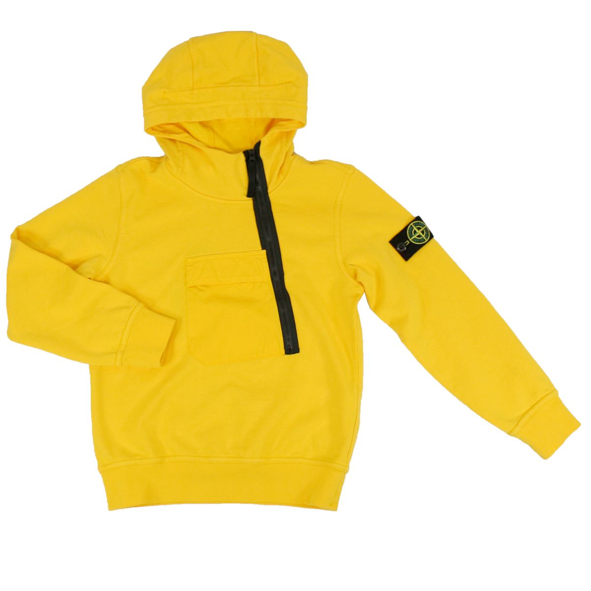Hooded sweatshirt with side zip Yellow Stone Island