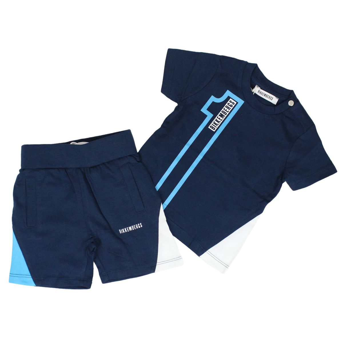 Cotton t-shirt and pants set Blue BIKKEMBERGS