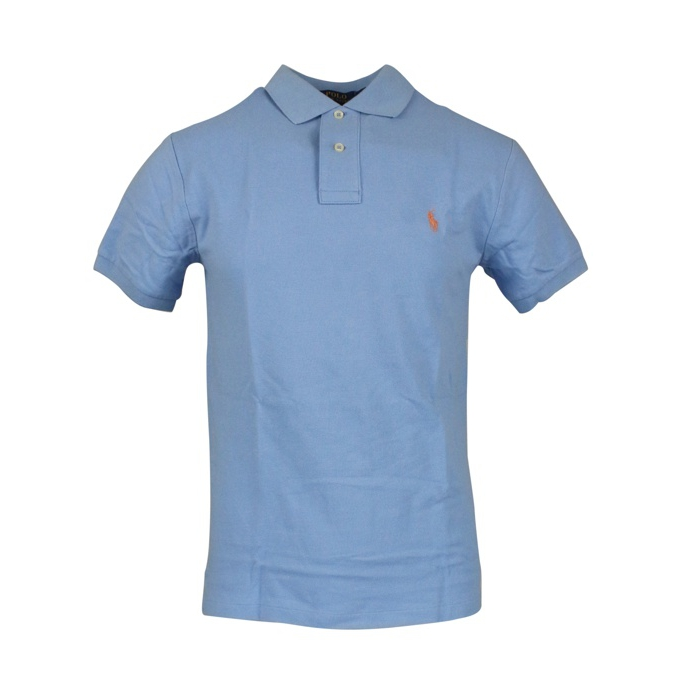 Polo 2 bottoni cotone slim fit Celeste Polo Ralph Lauren