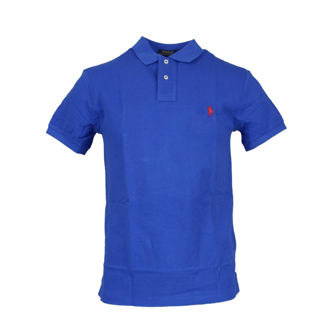Polo 2 bottoni cotone slim fit Cobalto Polo Ralph Lauren