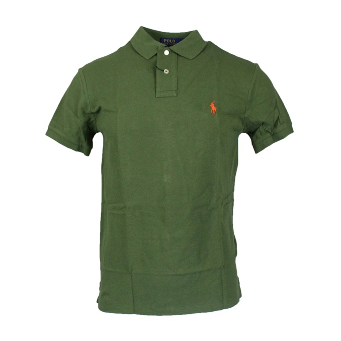 Polo 2 bottoni cotone slim fit Oliva Polo Ralph Lauren