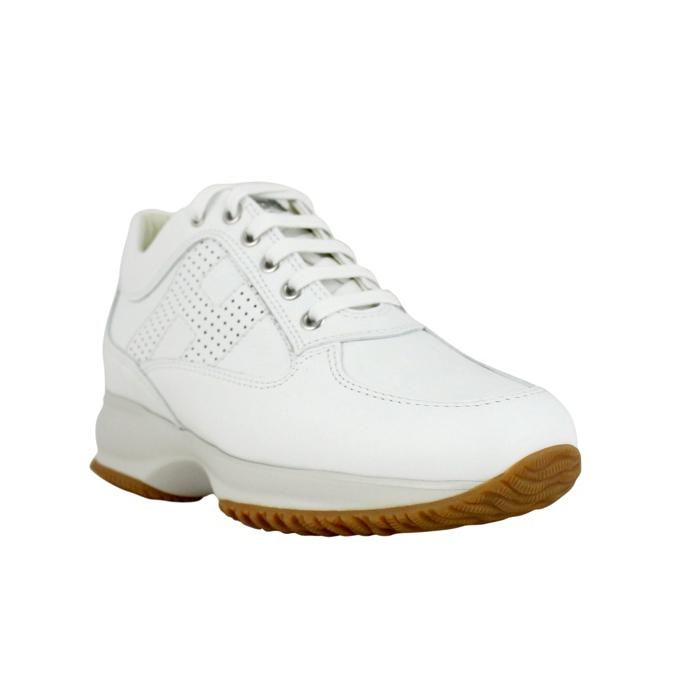 Interactive classic leather sneakers White Hogan