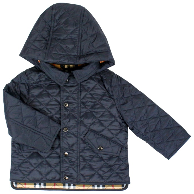 Quilted jacket with hood Blue Burberry