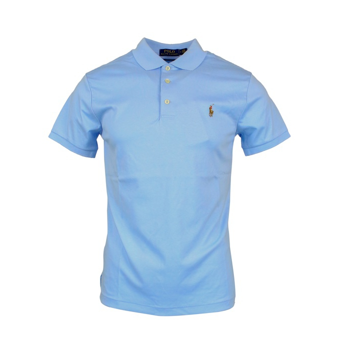 Polo slim fit in cotone pima Celeste Polo Ralph Lauren