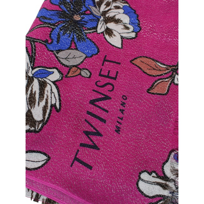 Flowers print scarf Rose Twin-Set