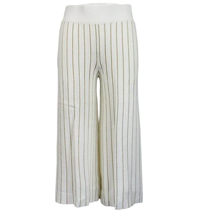 644b4e270822 Trousers with lurex stripes White, Twin-Set 191tp3251 - CapoSerio.com