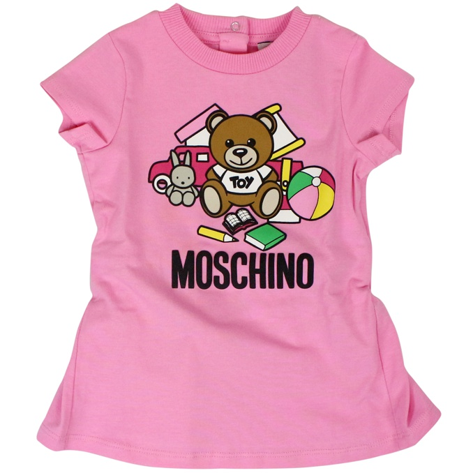 Little dress with bear print Rose MOSCHINO